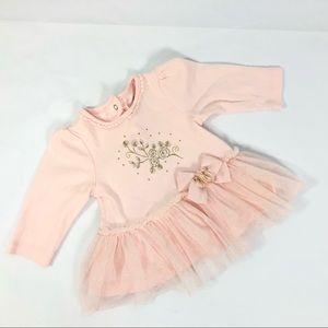 Little Me Baby Girl TUTU Trim Pink Glitter Top
